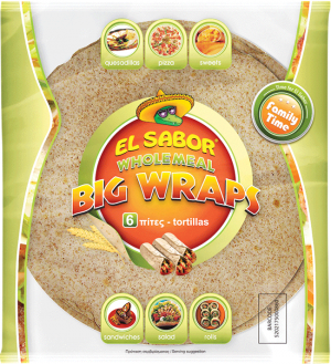 Πίτες Τορτίγια Ολκής Αλέσεως El Sabor 6 Big Tortillas Wraps wholemeal 370g