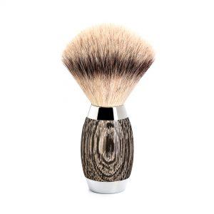 Πινέλο Ξυρίσματος Muhle Edition Με Συνθετική Ίνα Silvertip Fibre Badger Oak And Silver Brush 38mmx125mm