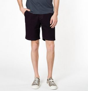 The Project Garments Cotton Blend Distressed Shorts Dark Burgundy