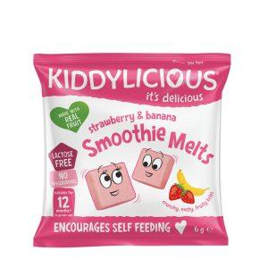 Παιδικό Σνακ Μπουκιές Φρούτων Kiddylicious Smoothie Melts Strawberry Banana 12+Months 6g