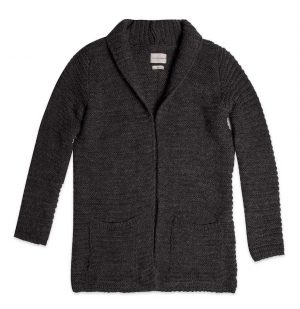 The Project Garments Knitted Shawl Collar Wool Blend Cardigan Charcoal