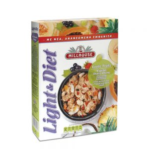 Δημητριακά Ολικής Άλεσης Millhouse Light and Diet Exotic Fruits 375g