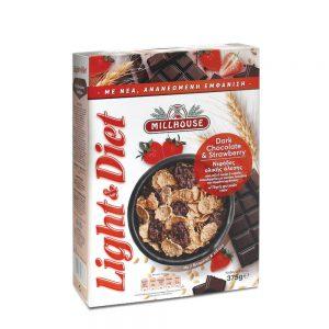 Δημητριακά Ολικής Άλεσης Millhouse Light and Diet Dark Chocolate and Strawberry 375g
