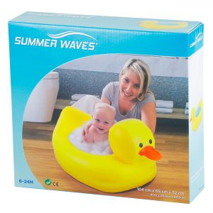 Φουσκωτό Μπανάκι Για Μωρά 6 Έως 24 Μηνών Κίτρινο Παπάκι Summer Waves 104x65x52cm