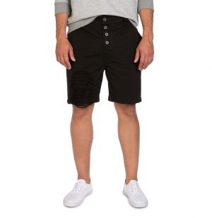 The Project Garments Distressed Straight Leg Washed Cotton Shorts Black