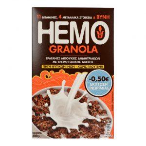 Δημητριακά Ολικής Άλεσης Χωρίς Γλουτένη Hemo Granola 400g