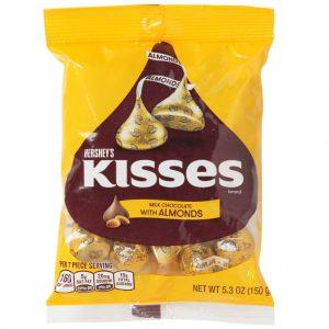 Σοκολατάκια Γάλακτος με Αμύγδαλα Hersheys Kisses Milk Chocolate with Almonds 150g