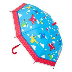 Παιδική Ομπρέλα Μπαστούνι Γαλάζια – Κόκκινη Airplanes 67cm