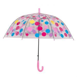 Παιδική Ομπρέλα Πουά Διάφανη Μπαστούνι Ροζ 76cm
