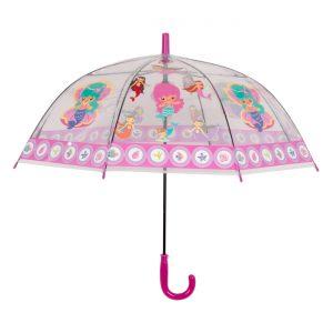 Παιδική Ομπρέλα Γοργόνες Διάφανη Μπαστούνι Φούξια 65cm