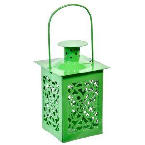 Φανάρι Διάτρητο Κρεμαστό Πράσινο 6×12.5 cm