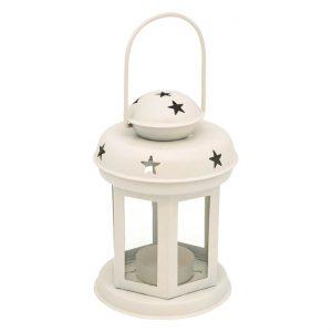 Φανάρι με Αστέρια Κρεμαστό Λευκό 10×15.5 cm