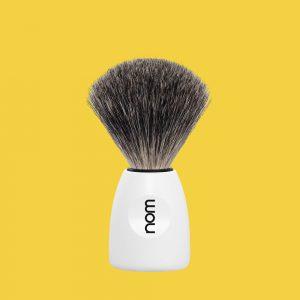 Nom shaving brush LASSE series pure badger handle material plastic white