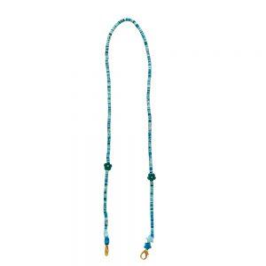 Κορδόνι Μάσκας Αξεσουάρ Παιδικό Χειροποίητο The Mamacita Store Mask Accessories Blue Green Flowers Chain