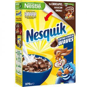 Παιδικά Δημητριακά Ολικής Άλεσης Nestle Nesquik Extra Choco Waves 375g
