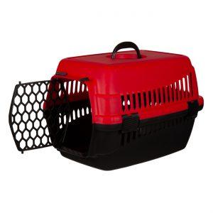 Πλαστικό Κλουβί Μεταφοράς Κατοικίδιου Κόκκινο Μαύρο 48x28x30cm