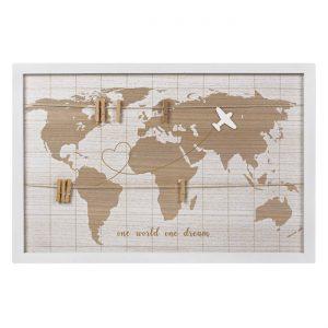 Κάδρο Φωτογραφιών Ξύλινο Παγκόσμιος Χάρτης 60x40cm