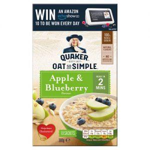 Νιφάδες Βρώμης Ολικής Άλεσης Quaker Oat So Simple Apple and Blueberry 360g