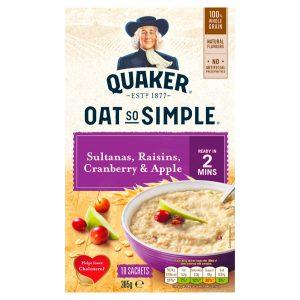 Νιφάδες Βρώμης Ολικής Άλεσης Quaker Oat So Simple Sultanas Raisins Cranberry and Apple 385g
