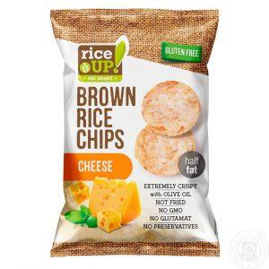 Τσιπς Καστανού Ρυζιού Rice Up Popped Brown Rice Chips Cheese 60g