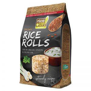 Ρυζογκοφρέτες Καστανού Ρυζιού Μίνι Rice Up Brown Rice Rolls Sour Cream Onion and Olive Oil 50g