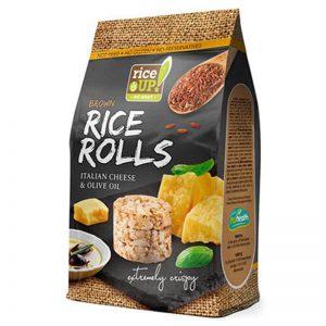 Ρυζογκοφρέτες Καστανού Ρυζιού Μίνι Rice Up Brown Rice Rolls Italian Cheese and Olive Oil 50g