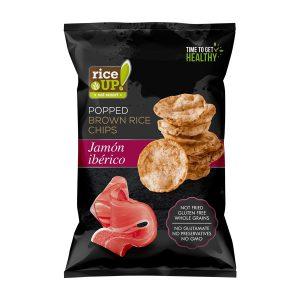 Τσιπς Καστανού Ρυζιού Rice Up Popped Brown Rice Chips Jamon Iberico 60g
