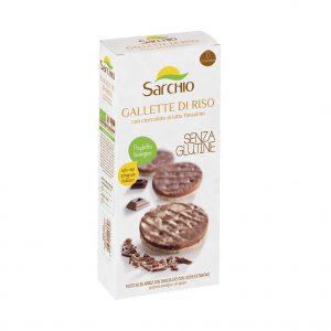 Ρυζογκοφρέτα με Σοκολάτα Γάλακτος Βιολογική Χωρίς Γλουτένη Sarchio Gallette di Riso con Cioccolato Al Latte 100g