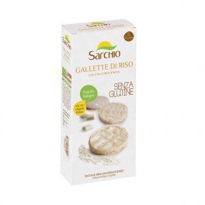 Ρυζογκοφρέτα με Λευκή Σοκολάτα Βιολογική Χωρίς Γλουτένη Sarchio Gallette di Riso 100g