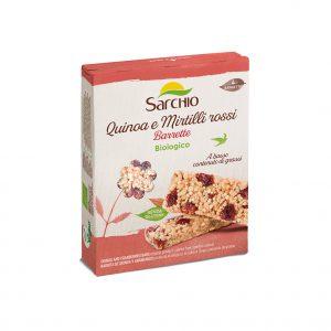 Μπάρα Κινόα Κράνμπερι Βιολογική Χωρίς Γλουτένη Vegan Sarchio Snak Quinoa Myrtilli Rossi 4x20g