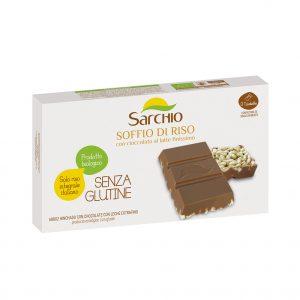 Ρυζογκοφρέτα με Σοκολάτα Γάλακτος Βιολογική Χωρίς Γλουτένη Sarchio Soffio di Riso con Cioccolato Al Latte 75g