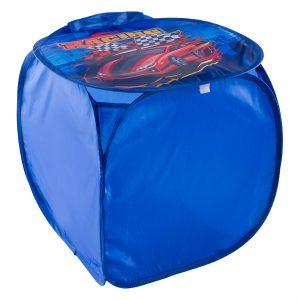 Κουτί Αποθήκευσης Παιχνιδιών Υφασμάτινο Μπλε Αγωνιστικό Αυτοκίνητο 45x45x45cm