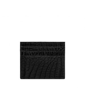 The Project Garments Card Case In Black Alligator Leather