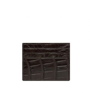 The Project Garments Card Case In Dark Brown Alligator Leather