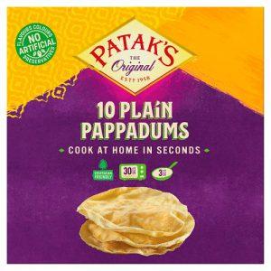 Ποπαντάμ 10 Πίτες Σκέτες Χωρίς Γλουτένη Pataks 10 Plain Pappadums 100g