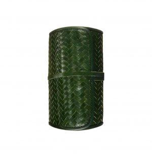Σετ Κρασιού και Κοπής Τυριών Mantidy Herringbone Cheese and Wine Roll Green Leather