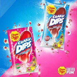 Γλειφιτζούρι Καραμέλα που Σκάει Chupa Chups Crazy Dips Popping Candy Lollipop Strawberry 14g