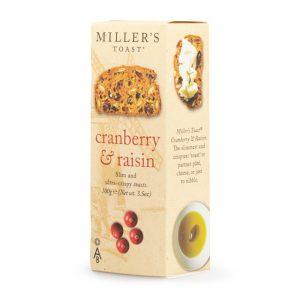 Φρυγανιές με Κράνμπερι και Σταφίδες Artisan Biscuits Millers Toasts Cranberry Raisin 100g