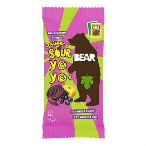 Bear yoyo Παιδικό Σνακ Φρούτου Vegan Super Sour Apple Blackcurrant Yo Yo Bear 20g