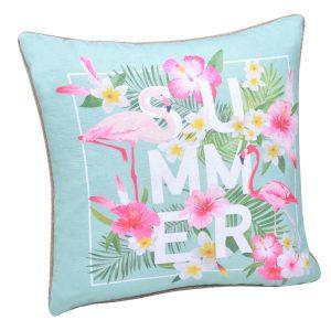 Μαξιλάρι Υφασμάτινο Διακοσμητικό Τιρκουάζ Ροζ Flamingo Summer 45x45x13cm
