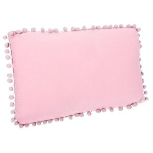 Μαξιλάρι Πομ Πομ Υφασμάτινο Διακοσμητικό Ροζ 50x30x9cm