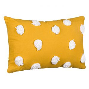 Μαξιλάρι Πομ Πομ Υφασμάτινο Διακοσμητικό Κίτρινο Μουσταρδί 50x30x15cm