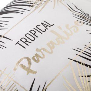 Μαξιλάρι Υφασμάτινο Διακοσμητικό Λευκό Μαύρο Χρυσό Tropical Paradise 45x45x11cm