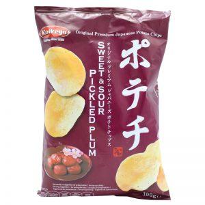Πατατάκια Γλυκόξινα Koikeya Premium Japanese Potato Chips Sweet and Sour Pickled Plum Flavour 100g