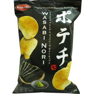 Πατατάκια Γουασάμπι Koikeya Premium Japanese Potato Chips Wasabi Nori Flavour 100g