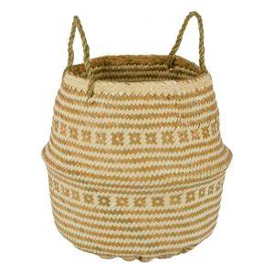 Καλάθι Κασπώ Μπεζ Εκρού Ψάθινο Αναδιπλούμενο Ethnic με Χερούλια 25x35cm