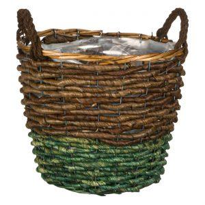 Καλάθι Διακοσμητικό Πράσινο Καφέ από Φύλλα Καλαμποκιού με Χερούλια 32x26cm