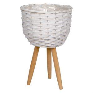 Καλάθι Κασπώ Λεύκο Πλεκτό με Ξύλινα Πόδια 26x44cm