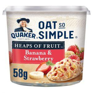 Νιφάδες Βρώμης Ολικής Άλεσης Quaker Oat So Simple Banana Strawberry 58g