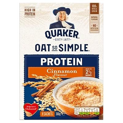 Νιφάδες Βρώμης Ολικής Άλεσης Quaker Oat So Simple Protein Cinnamon 368g